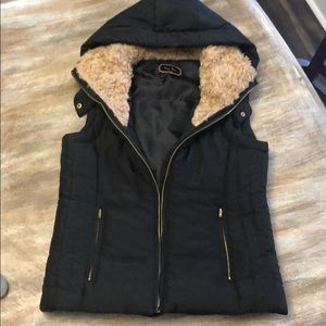 Light puffy vest with Sherpa-esq lined hood!